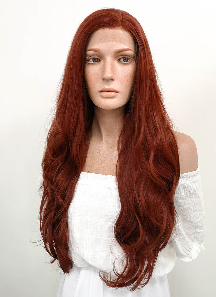 "26"" Long Curly Reddish Brown Lace Front Synthetic Hair Wig LF147 - CosplayBuzz"