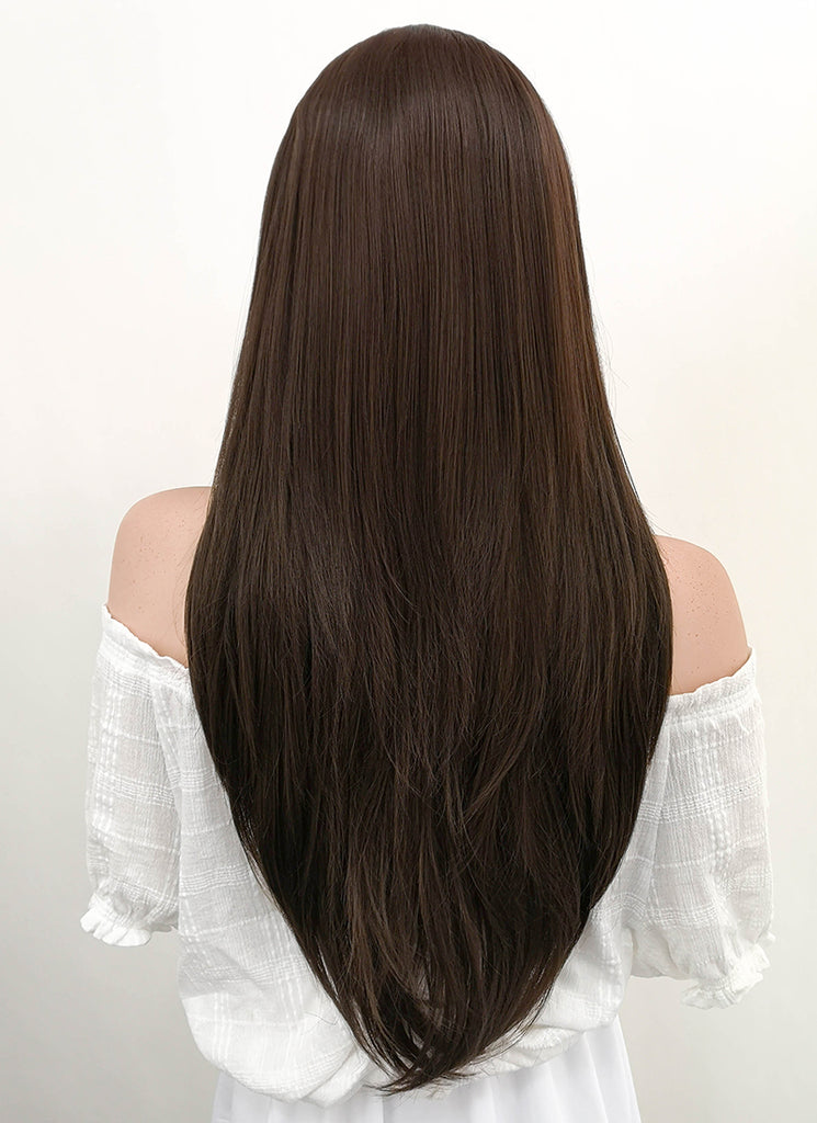 "24"" Long Straight Dark Brown Lace Front Synthetic Hair Wig LF150 - CosplayBuzz"