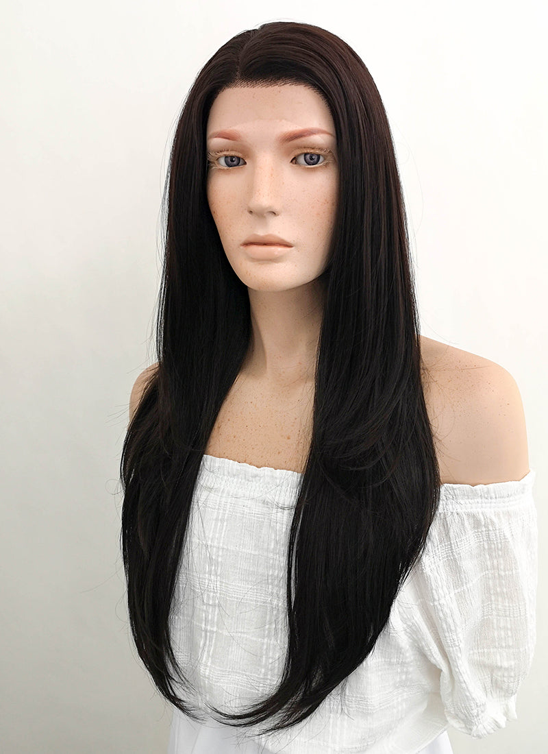 Long Straight Natural Black Lace Front Synthetic Hair Wig LF151 - CosplayBuzz