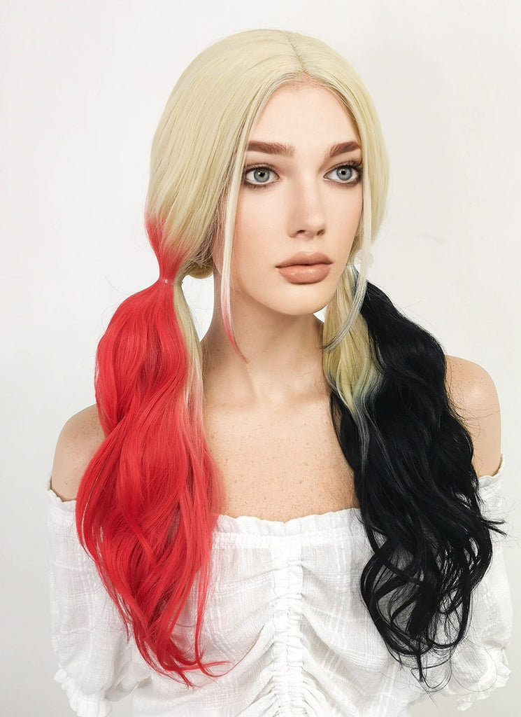 Batman Harley Quinn Long Curly Blonde Black Red Mixed Lace Front Synthetic Hair Wig LF1576A