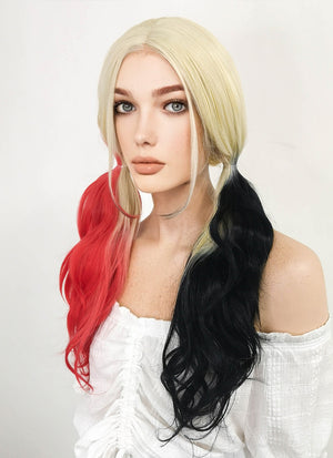 Blonde Harley Quinn Red Black Ponytail Lace Front Synthetic Hair Wig LF1576A