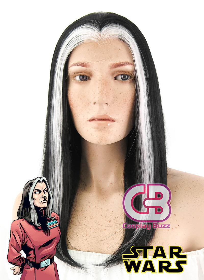 Star Wars Ysanne Isard Short Straight Black Mixed White Lace Front Synthetic Hair Wig LF1605