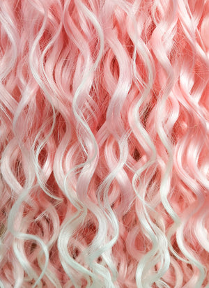 Long Spiral Pink with Light Tips Lace Front Synthetic Hair Wig LF165 - CosplayBuzz