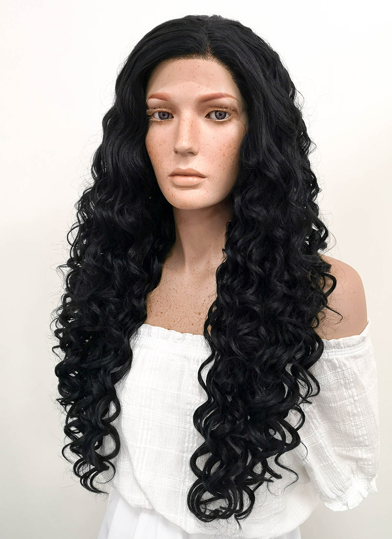 Long Spiral Black Lace Front Synthetic Hair Wig LF166 - CosplayBuzz