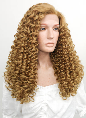 Long Curly Golden Blonde Lace Front Synthetic Hair Wig LF1701 - CosplayBuzz