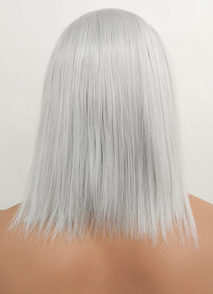 The Witcher 3 Geralt of Rivia Medium Straight Silver Grey Lace Front Synthetic Hair Wig LF1702 - CosplayBuzz