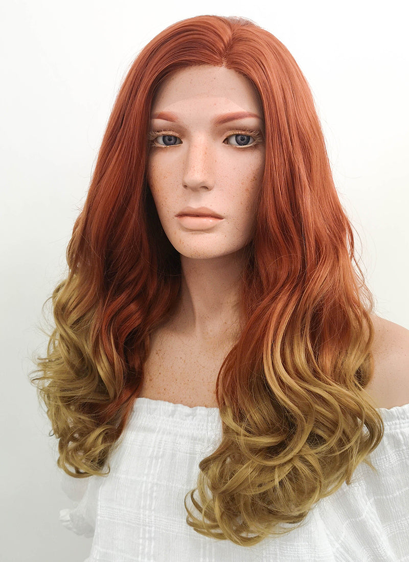 Long Wavy Auburn Blonde Ombre Lace Front Synthetic Hair Wig LF1707 - CosplayBuzz
