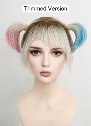 Birds of Prey Harley Quinn Wavy Blonde Pink Blue Ponytail With Brown Roots Lace Front Synthetic Wig LF1744 - CosplayBuzz