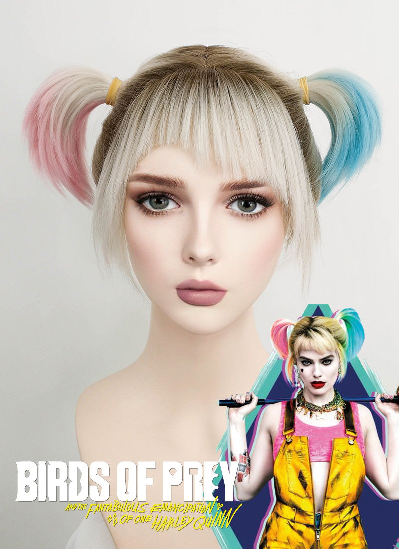Birds of Prey Harley Quinn Wavy Blonde Pink Blue Ponytail With Brown Roots Lace Front Synthetic Wig LF1744