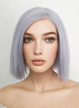 Short Straight Pastel Lilac Lace Front Synthetic Hair Wig LF1746 - CosplayBuzz
