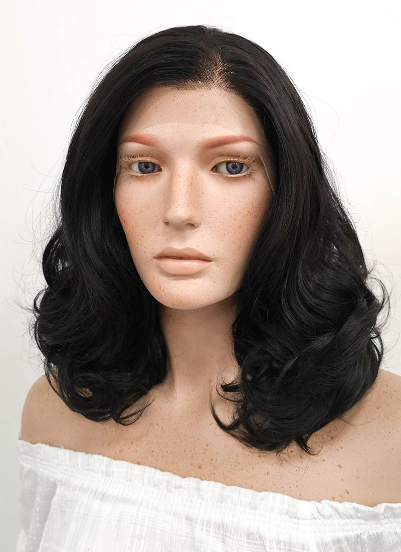 Medium Curly Natural Black Lace Front Synthetic Hair Wig LF198 - CosplayBuzz