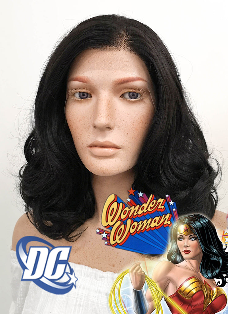 DC Wonder Woman Lynda Carter Cosplay Medium Curly Natural Black Lace Front Wig LF198 - CosplayBuzz