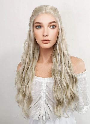 Game of Thrones Daenerys Targaryen Long Curly Light Ash Blonde Braided Lace Front Synthetic Wig LF2017 - CosplayBuzz