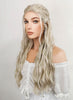 Game of Thrones Daenerys Targaryen Long Curly Light Ash Blonde Braided Lace Front Synthetic Hair Wig LF2017