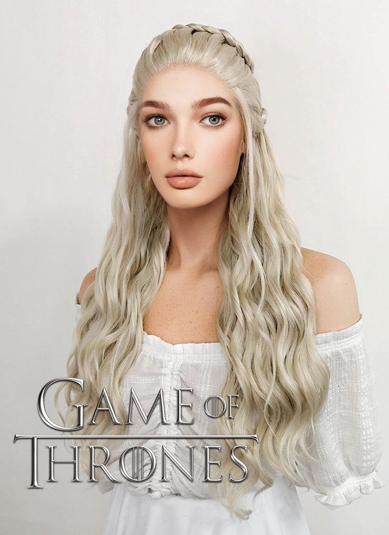 Game of Thrones Daenerys Targaryen Long Light Ash Blonde Braided Lace Front Synthetic Wig LF2021 - CosplayBuzz