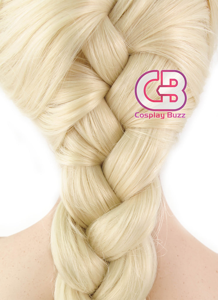 Frozen Elsa Long Curly Light Blonde Braided Lace Front Synthetic Wig LF2024 - CosplayBuzz