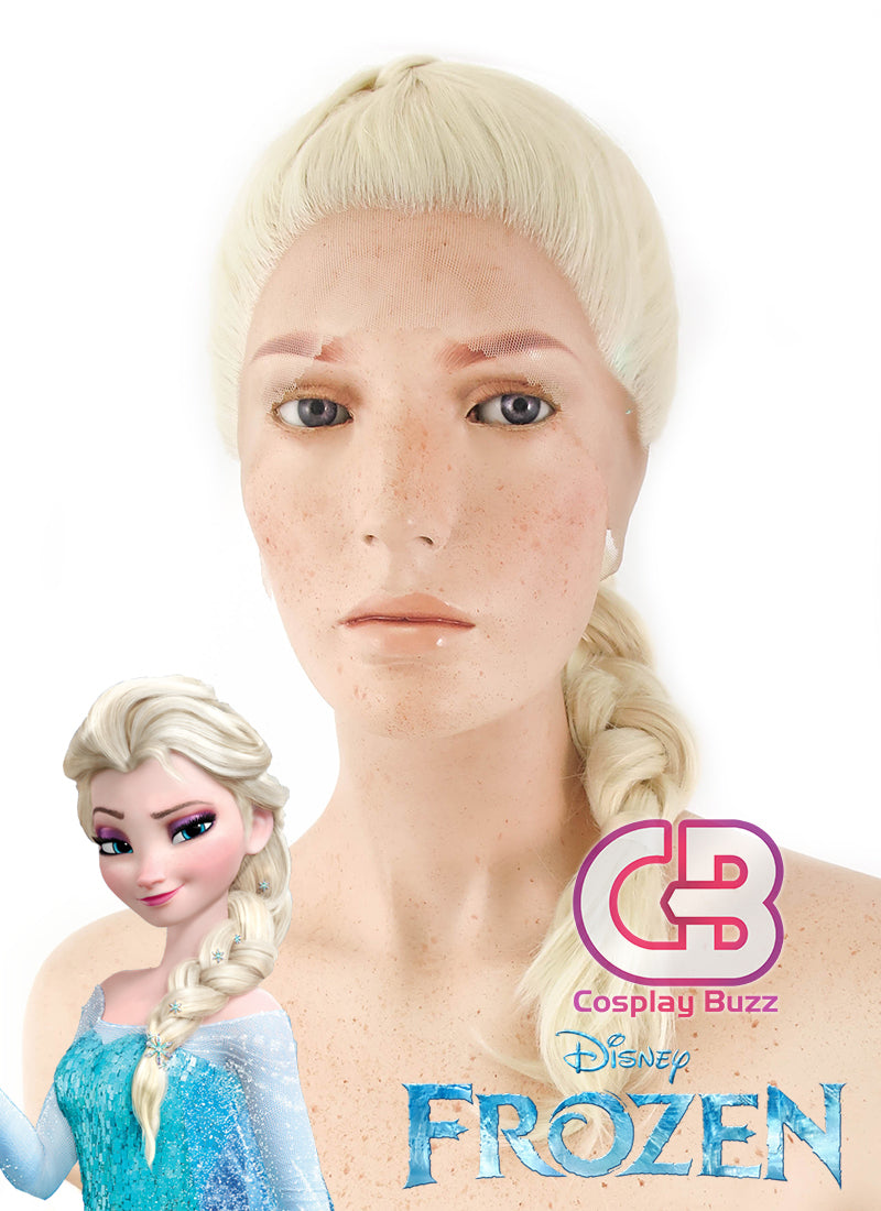 Disney Frozen Elsa Long Curly Light Blonde Braided Lace Front Synthetic Wig LF2024 - CosplayBuzz