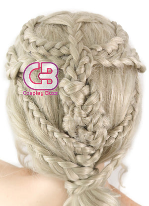 Game of Thrones Daenerys Targaryen Long Light Ash Blonde Braided Lace Front Synthetic Wig LF2037 - CosplayBuzz