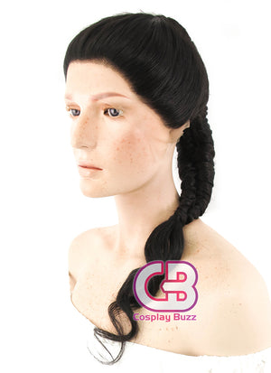 DC Wonder Woman Long Curly Natural Black Braided Lace Front Synthetic Wig LF2038 - CosplayBuzz