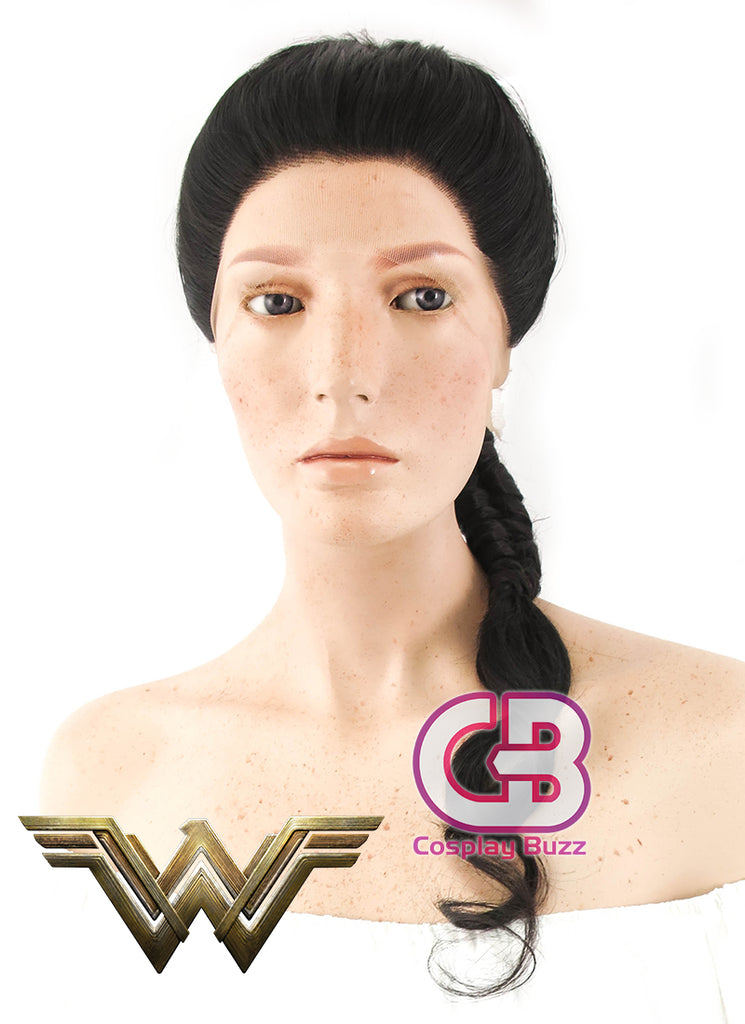 DC Wonder Woman Long Curly Natural Black Braided Lace Front Synthetic Wig LF2038