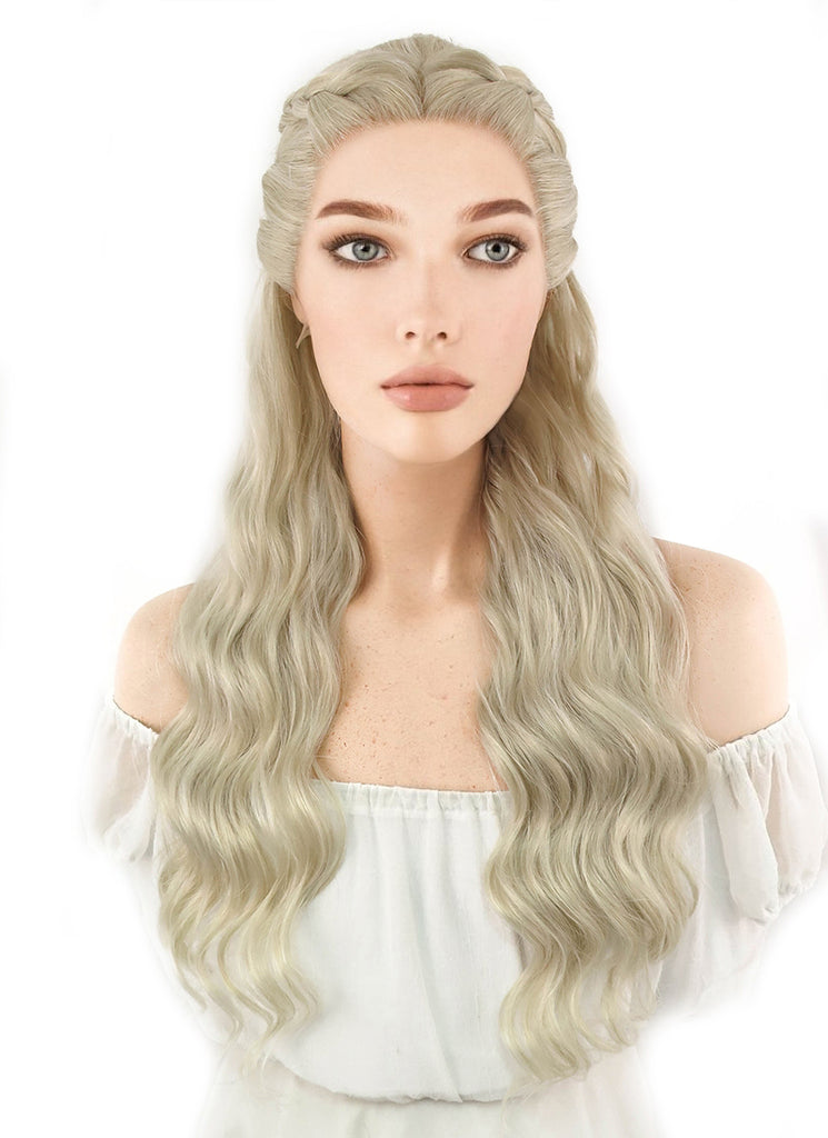 Game of Thrones Daenerys Targaryen Long Light Ash Blonde Braided Lace Front Synthetic Wig LF2039