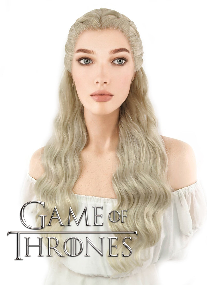 Game of Thrones Daenerys Targaryen Long Light Ash Blonde Braided Lace Front Synthetic Wig LF2039 - CosplayBuzz