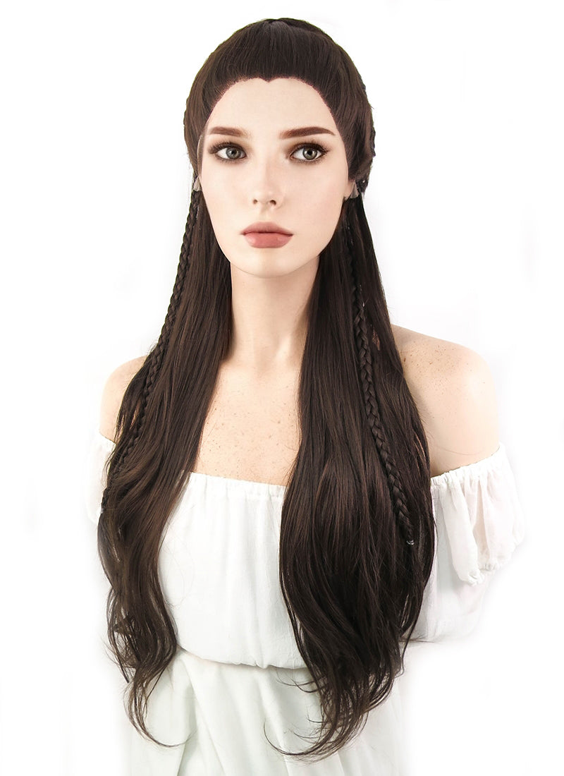 Long Dark Brown Braided Lace Front Synthetic Wig LF2040 - CosplayBuzz