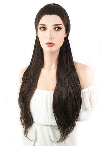 Marvel Venus Cosplay Long Curly White Lace Front Synthetic Hair Wig LF686C