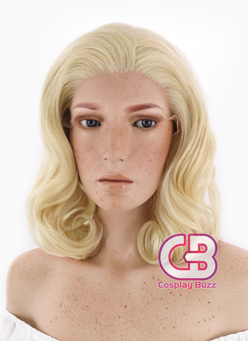 Medium Curly Golden Blonde Lace Front Synthetic Hair Wig LF206 - CosplayBuzz
