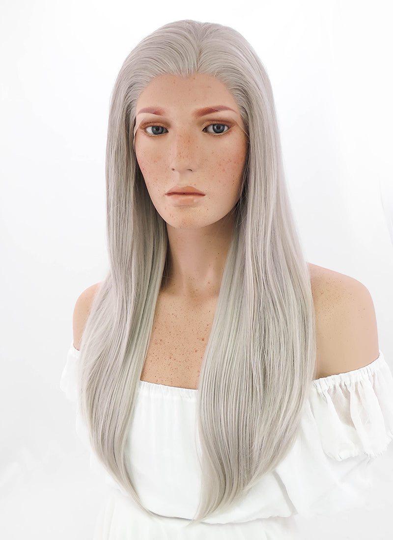 Long Straight Grey Blonde Lace Front Synthetic Hair Wig LF238 - CosplayBuzz