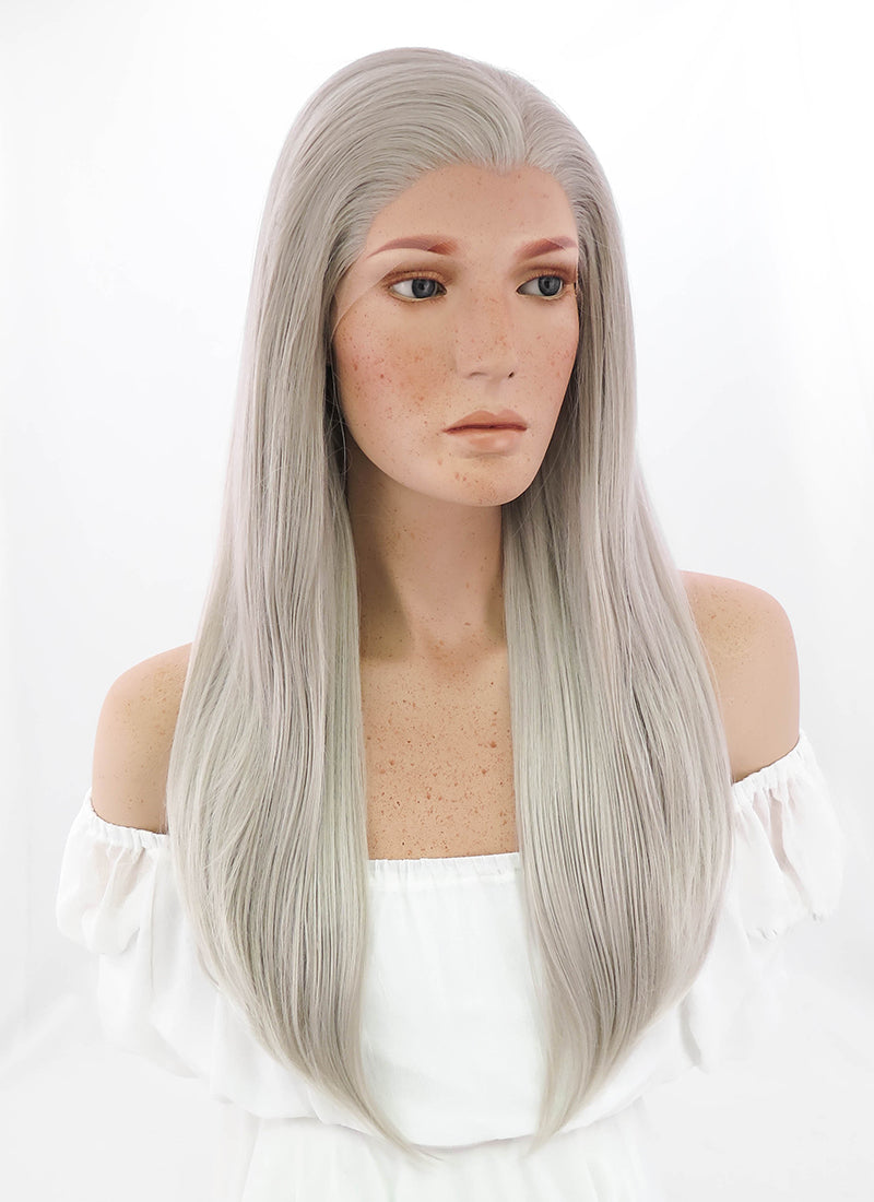 Long Straight Grey Blonde Lace Front Synthetic Hair Wig LF238
