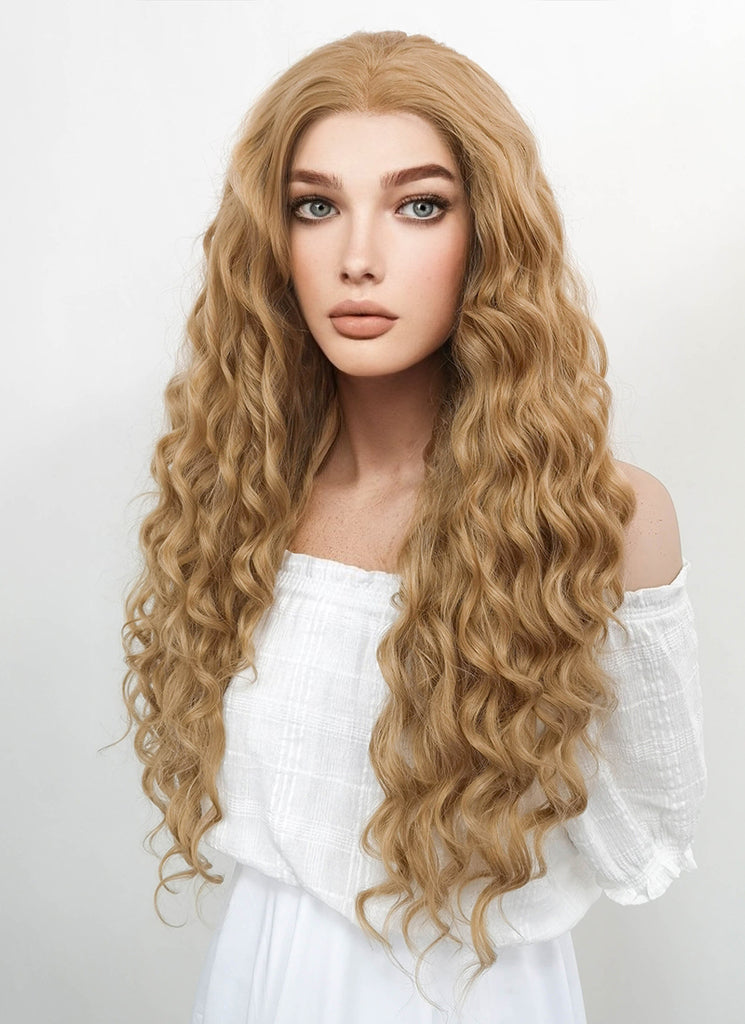 "26"" Long Curly Golden Blonde Lace Front Synthetic Hair Wig LF244 - CosplayBuzz"