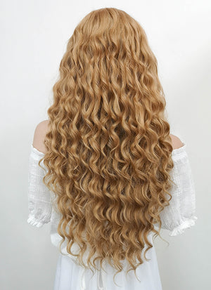 Long Wavy Golden Blonde Lace Front Synthetic Hair Wig LF244 - CosplayBuzz