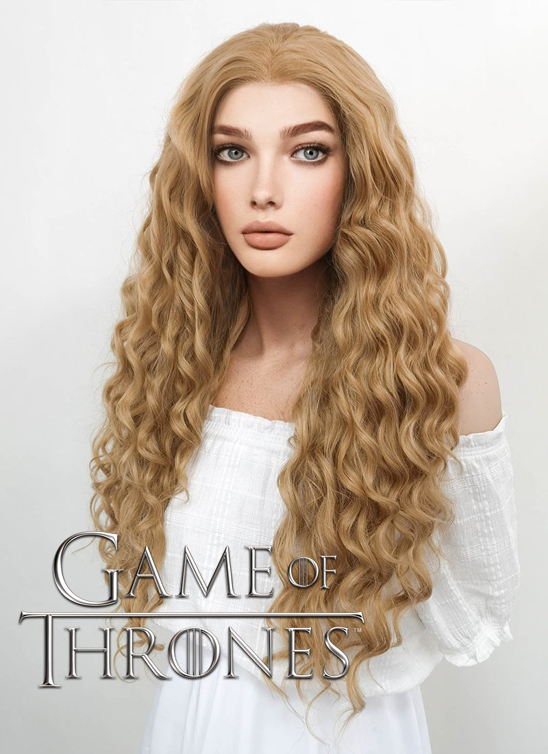 Game of Thrones Cersei Lannister Long Curly Golden Blonde Lace Front Wig LF244