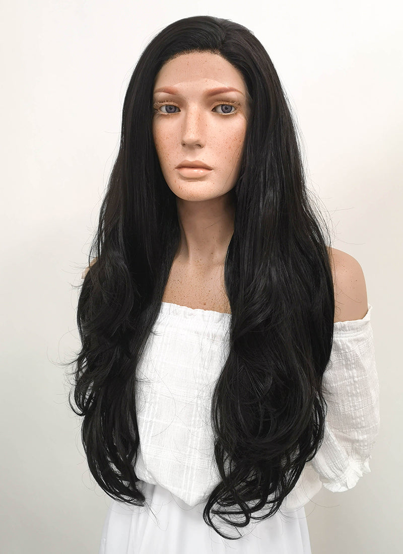 Long Wavy Natural Black Lace Front Synthetic Hair Wig LF246 - CosplayBuzz