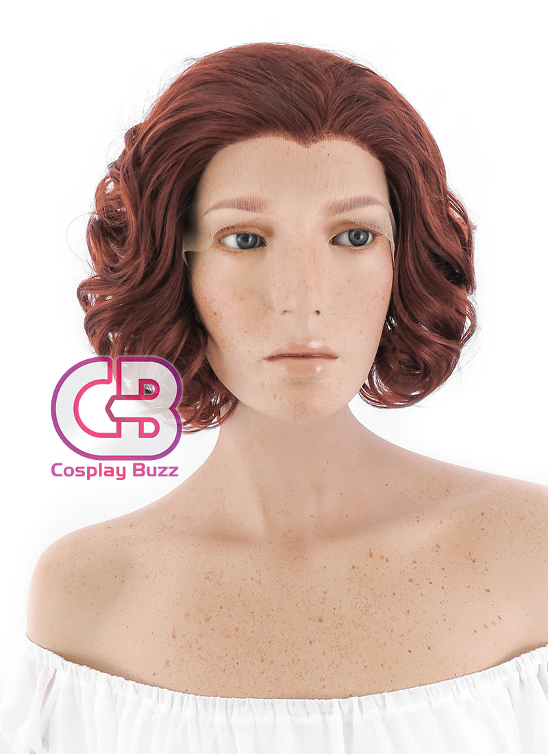 Short Curly Reddish Brown Lace Front Synthetic Hair Wig LF253 - CosplayBuzz
