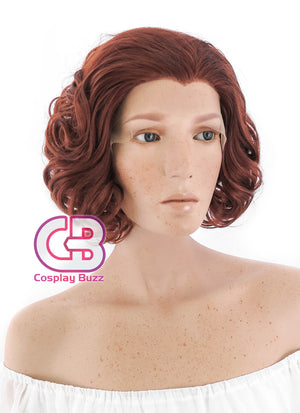 Marvel Avengers Black Widow Short Curly Reddish Brown Lace Front Synthetic Hair Wig LF253 - CosplayBuzz