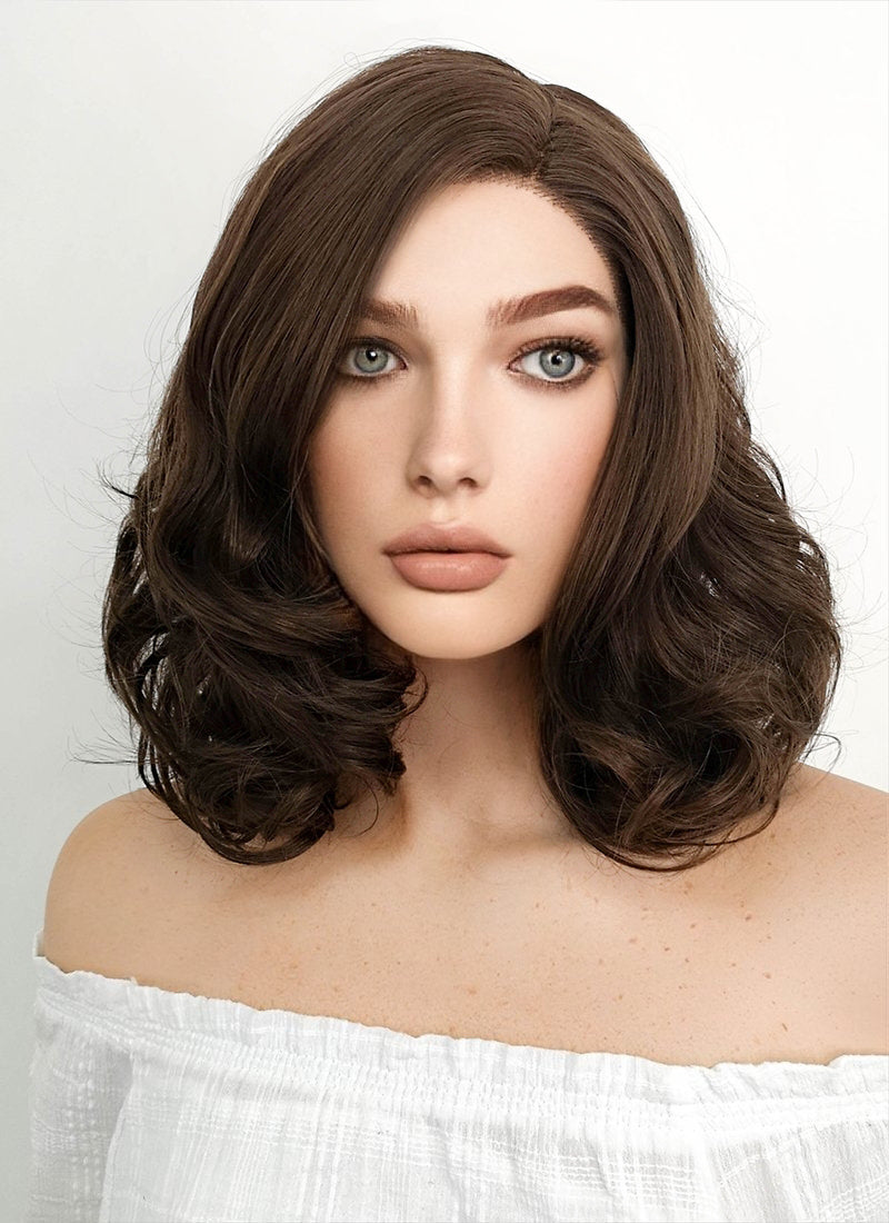 Medium Curly Brown Lace Front Synthetic Hair Wig LF256 - CosplayBuzz
