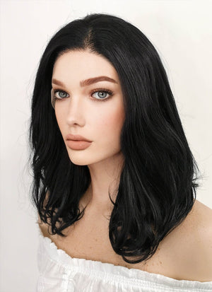 Medium Wavy Jet Black Lace Front Synthetic Hair Wig LF257 - CosplayBuzz
