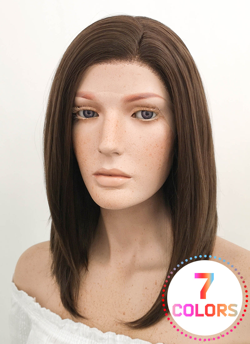Medium Straight 2 Tone Dark Brown Lace Front Synthetic Hair Wig LF265 - CosplayBuzz