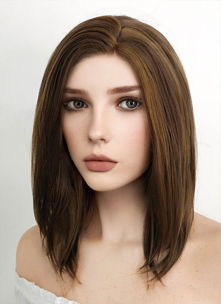 "14"" Medium Wavy Dark Brown Mixed Chestnut Brown Lace Front Synthetic Hair Wig LF268 - CosplayBuzz"