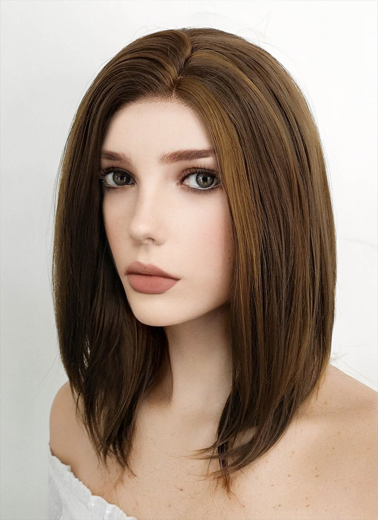 "14"" Medium Wavy Dark Brown Mixed Chestnut Brown Lace Front Synthetic Hair Wig LF268"