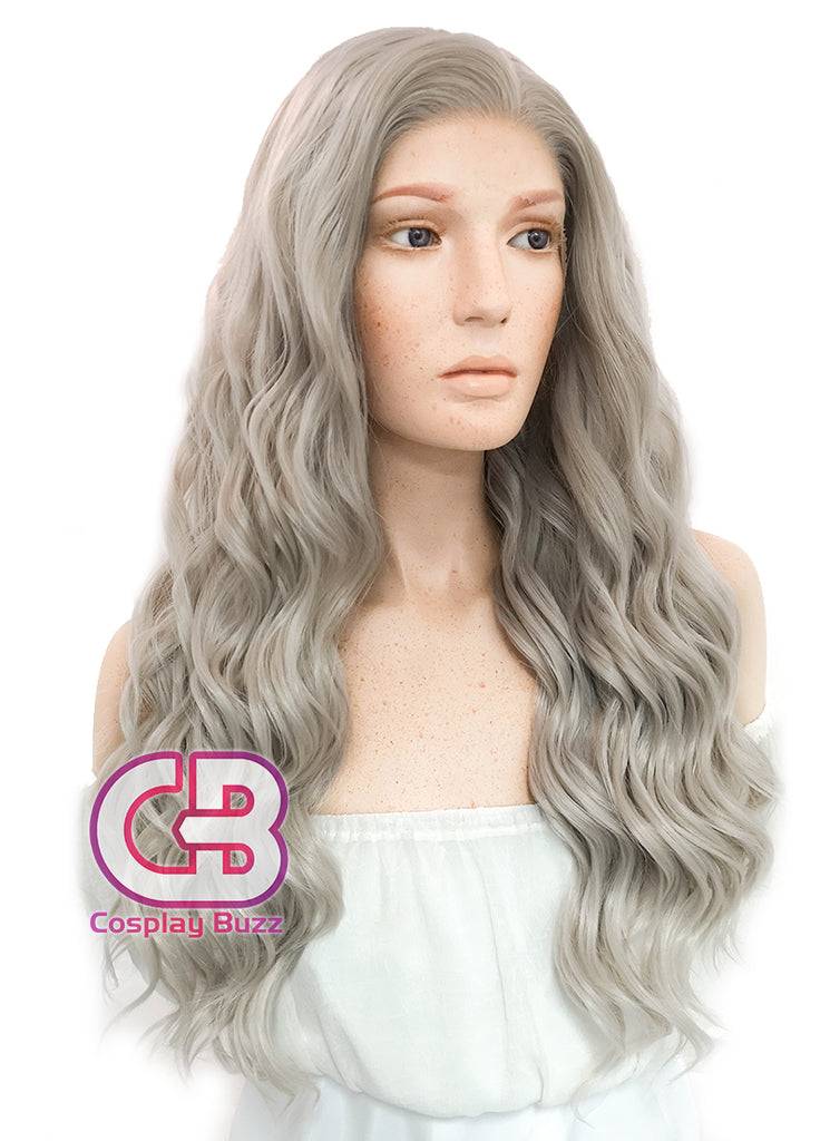 "24"" Long Curly Mixed Grey Lace Front Synthetic Hair Wig LF291 - CosplayBuzz"