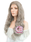 Long Curly Mixed Grey Lace Front Synthetic Hair Wig LF291 - CosplayBuzz