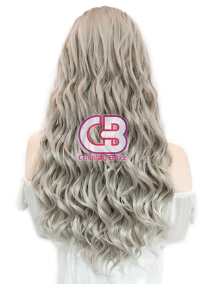 Long Wavy Mixed Grey Lace Front Synthetic Hair Wig LF291 - CosplayBuzz