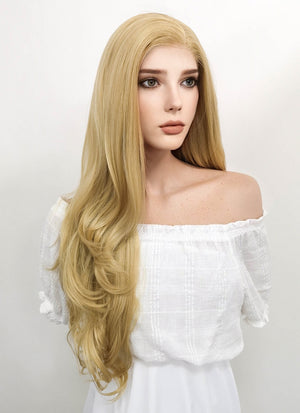 Long Curly Blonde Lace Front Synthetic Hair Wig LF323 - CosplayBuzz