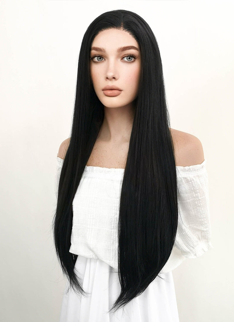 Long Straight Jet Black Lace Front Synthetic Hair Wig LF327 - CosplayBuzz
