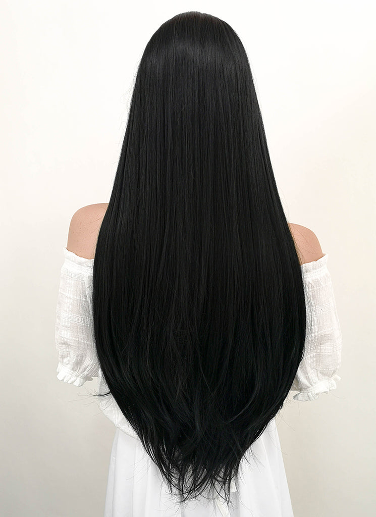 "30"" Long Straight Jet Black Lace Front Synthetic Hair Wig LF327 - CosplayBuzz"
