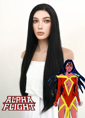 Marvel Alpha Flight Talisman Cosplay Long Straight Jet Black Lace Front Wig LF327