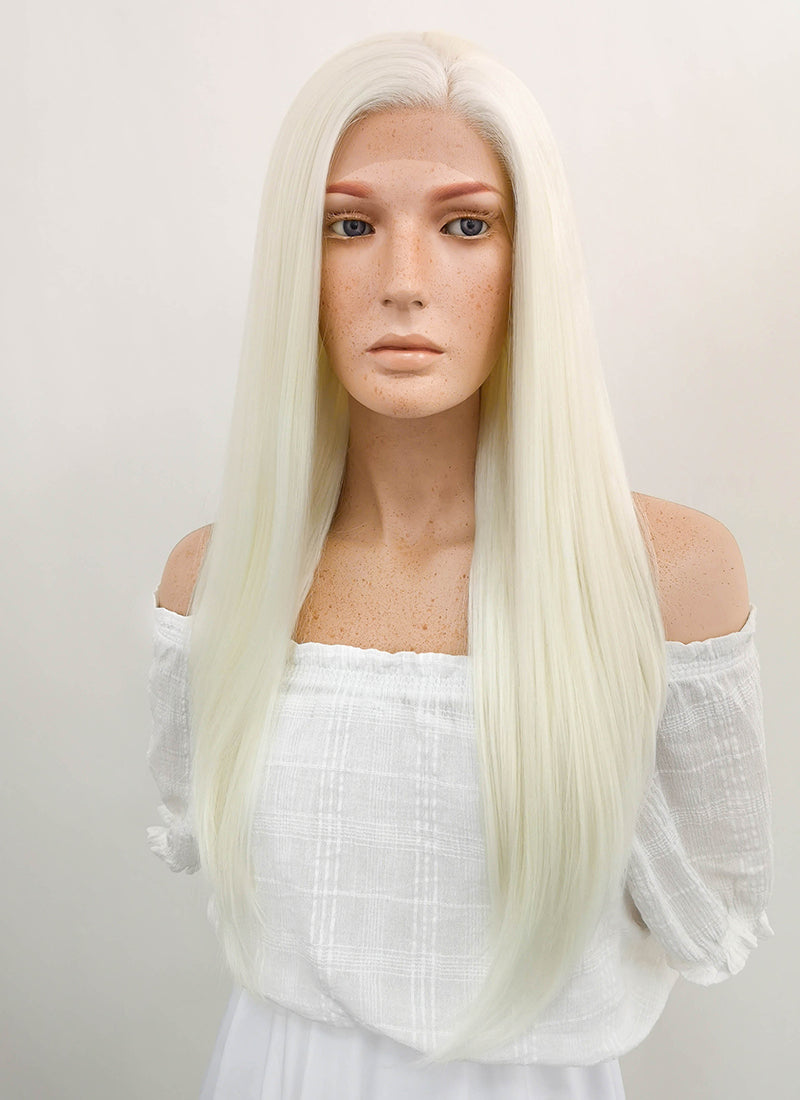 Long Straight White Platinum Blonde Lace Front Synthetic Hair Wig LF330 - CosplayBuzz